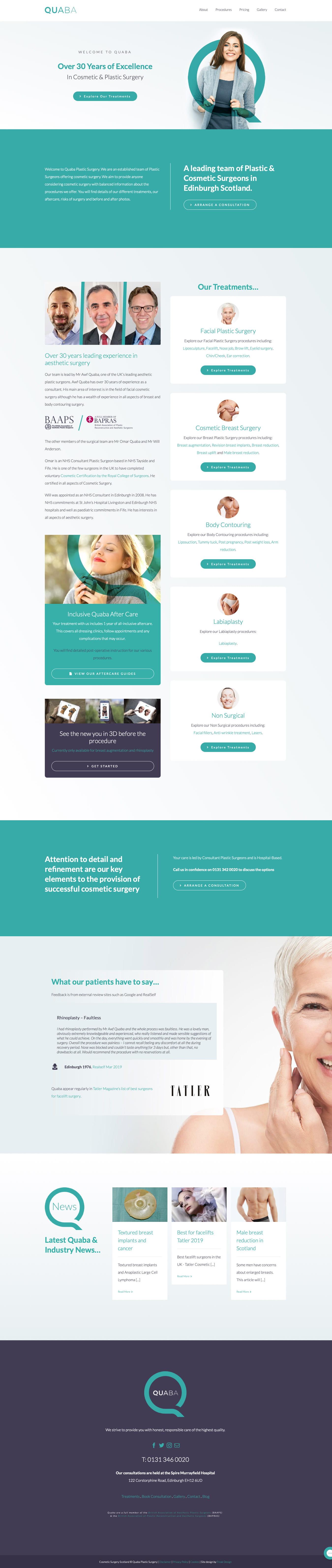 Quaba Plastic Surgery Website Design