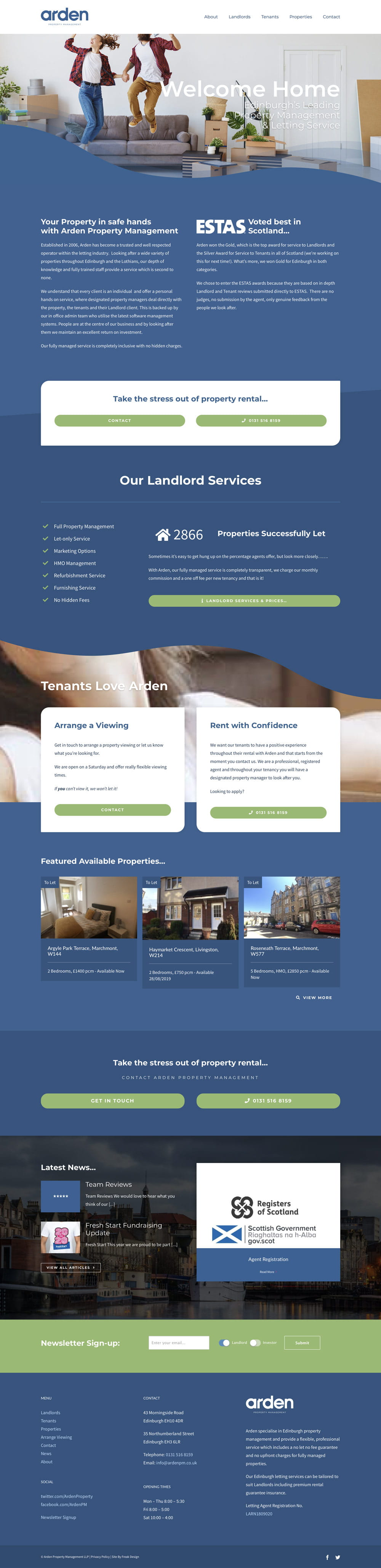 Arden property management website design by Freak